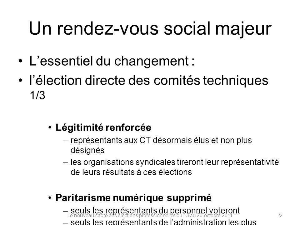 Un rendez-vous social majeur Lessentiel du changement : lélection directe des comités techniques 1/3 Légitimité renforcée –représentants aux CT désorm