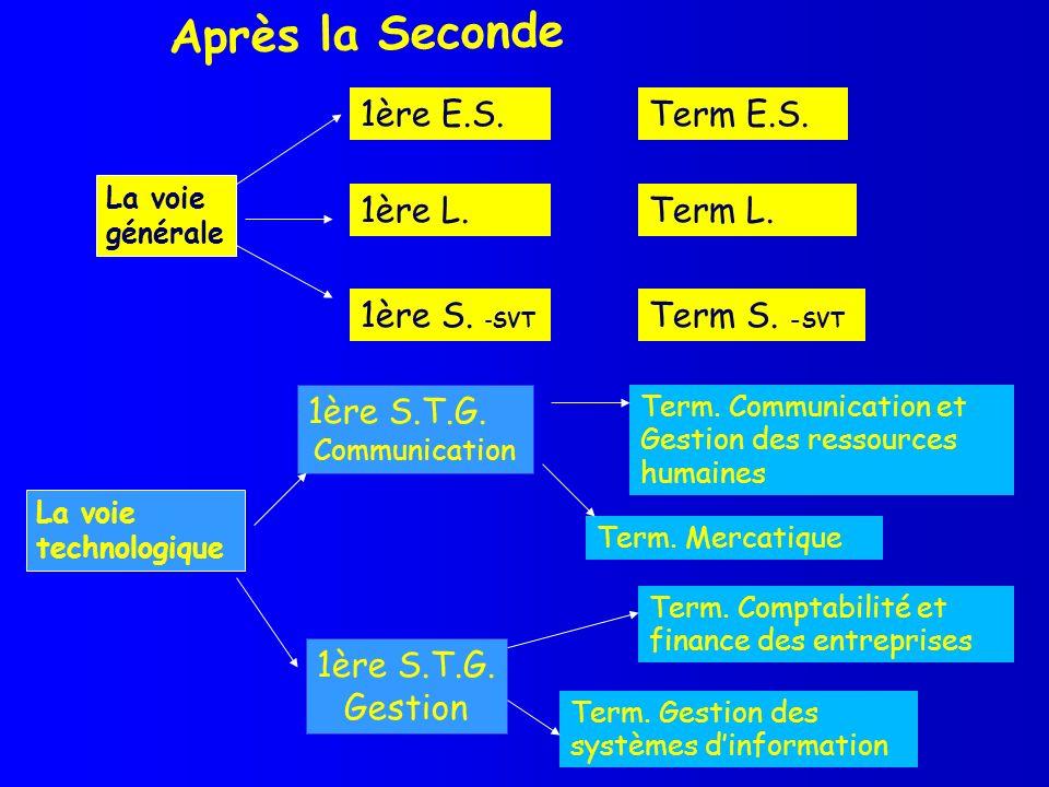 Après la Seconde La voie technologique 1ère S.T.G. Communication 1ère S.T.G. Gestion 1ère E.S. La voie générale 1ère L. 1ère S. -SVT Term E.S. Term L.