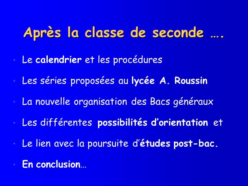 Après la classe de seconde …. Le calendrier et les procédures Les séries proposées au lycée A. Roussin La nouvelle organisation des Bacs généraux Les