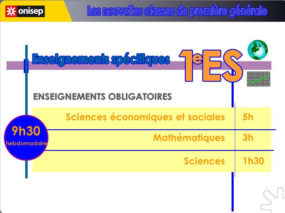 5h 3h 1h30 Sciences économiques et sociales Mathématiques Sciences 9h30 hebdomadaire
