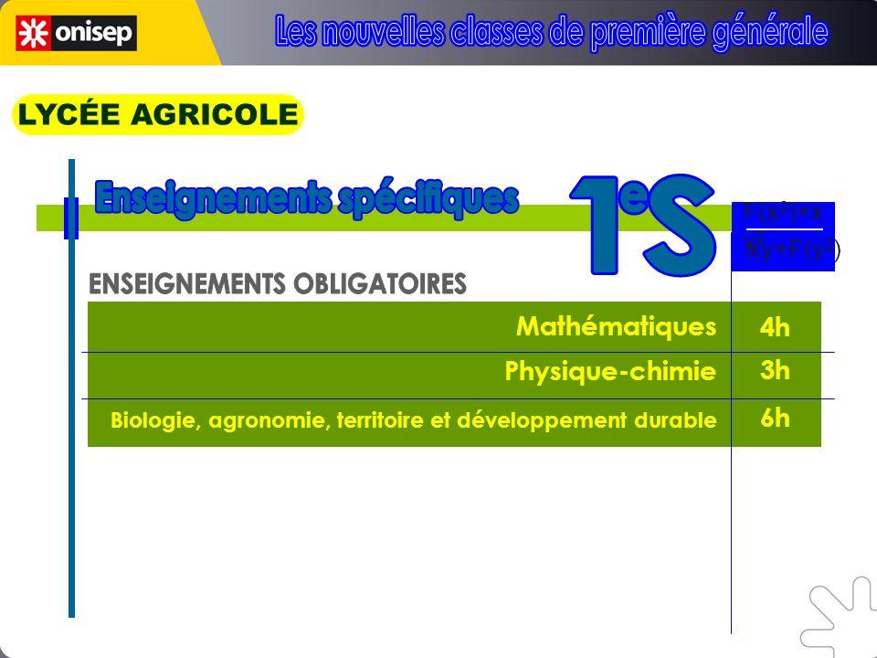 Mathématiques Physique-chimie Biologie, agronomie, territoire et développement durable 4h 3h 6h 3h F(x 2 )+x y 2 xy+F(y 2 ) LYCÉE AGRICOLE