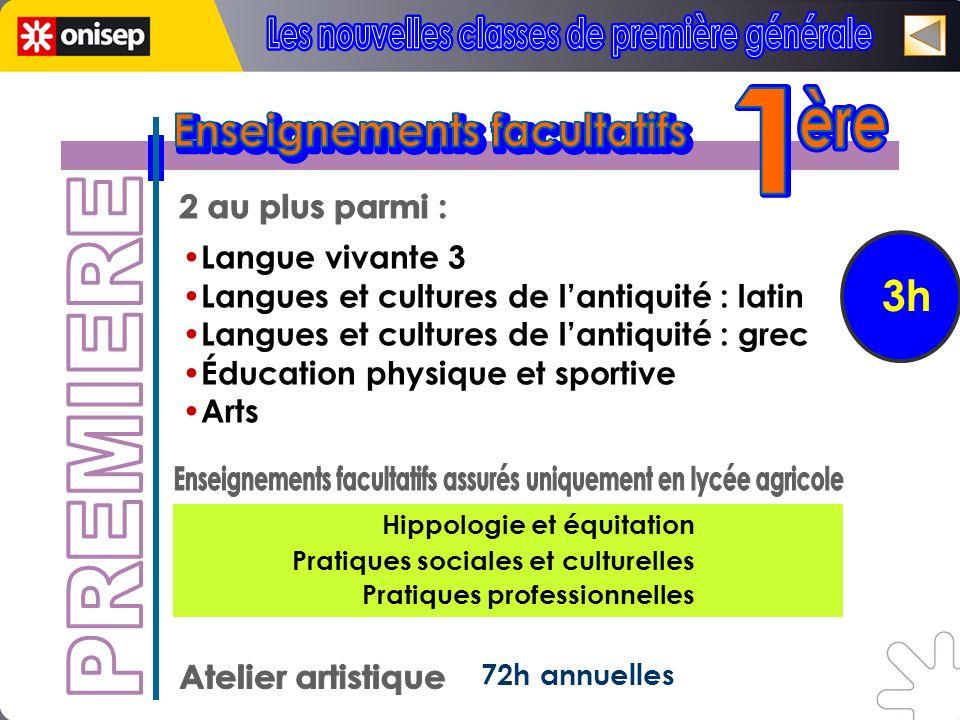 3h 72h annuelles Langue vivante 3 Langues et cultures de lantiquité : latin Langues et cultures de lantiquité : grec Éducation physique et sportive Ar