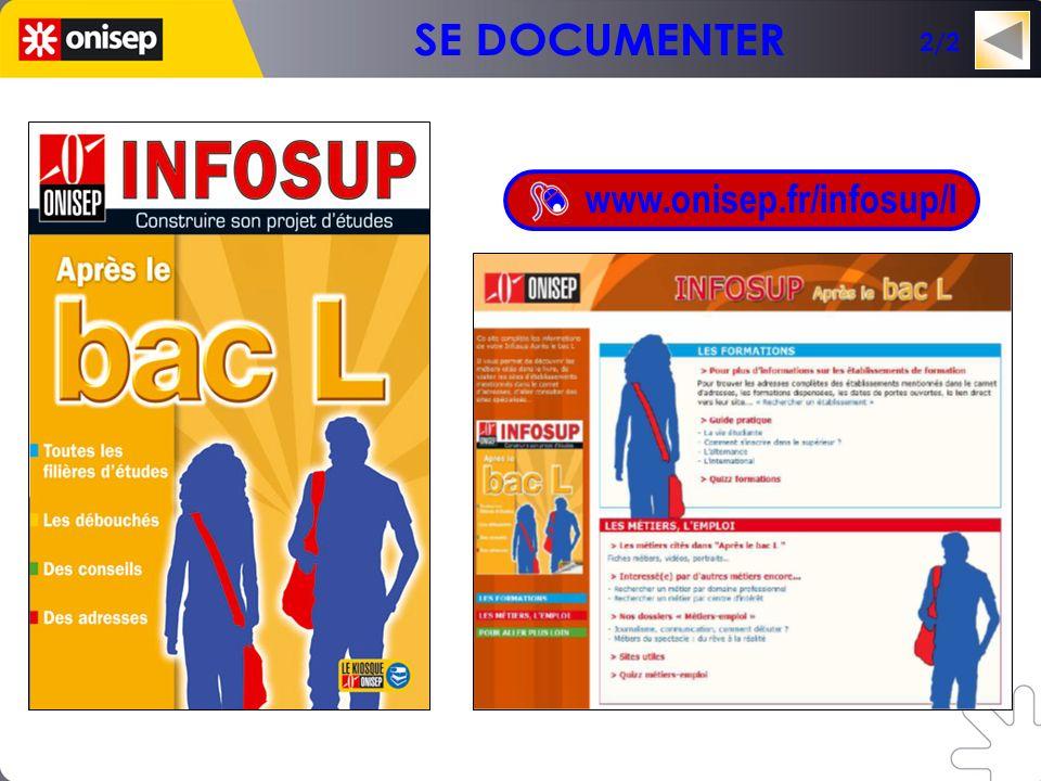 Un mini-site en lien avec la collection INFOSUP www.onisep.fr/infosup/l 2/2