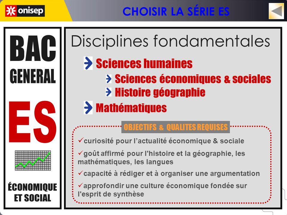 Disciplines fondamentales Sciences économiques & sociales Histoire géographie Sciences humaines Mathématiques curiosité pour lactualité économique & s