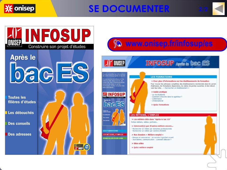 Un mini-site en lien avec la collection INFOSUP www.onisep.fr/infosup/es 2/2