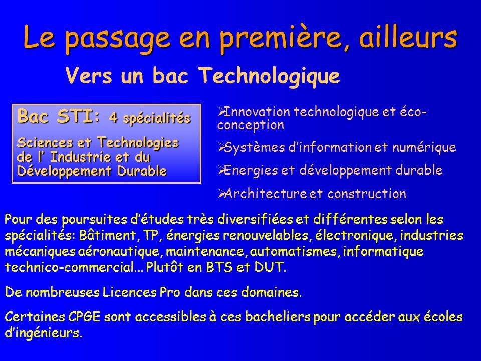 Le passage en première, ailleurs Vers un bac Technologique Innovation technologique et éco- conception Systèmes dinformation et numérique Energies et