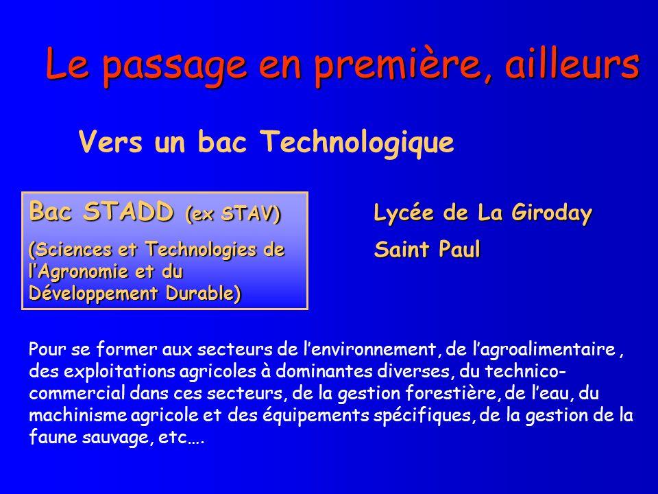 Le passage en première, ailleurs Vers un bac Technologique Bac STADD (ex STAV) (Sciences et Technologies de lAgronomie et du Développement Durable) Ly