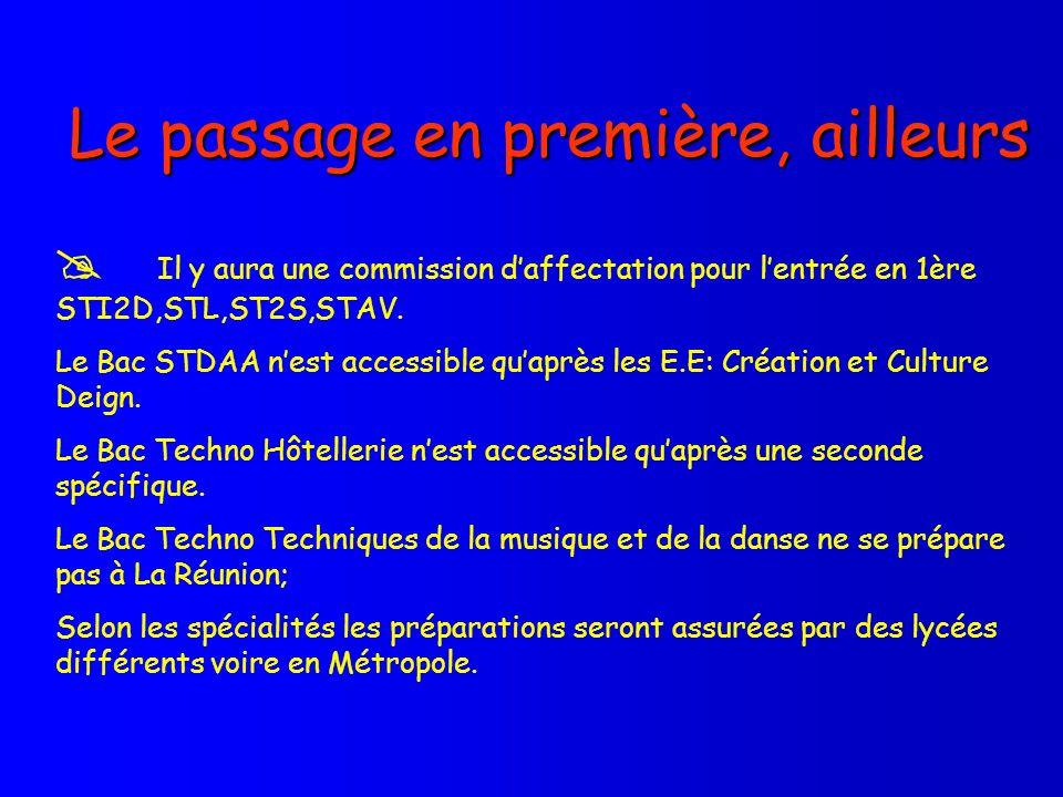 Le passage en première, ailleurs Il y aura une commission daffectation pour lentrée en 1ère STI2D,STL,ST2S,STAV. Le Bac STDAA nest accessible quaprès
