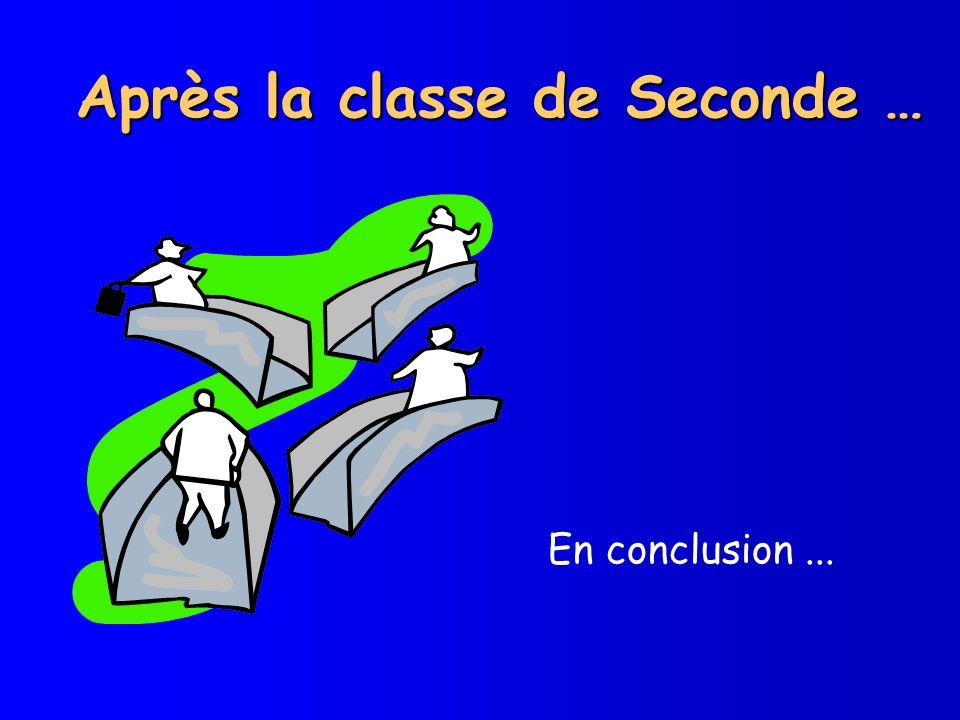 Après la classe de Seconde … En conclusion...