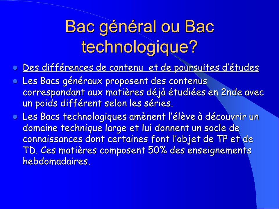 Bac général ou Bac technologique? Des différences de contenu et de poursuites détudes Des différences de contenu et de poursuites détudes Les Bacs gén