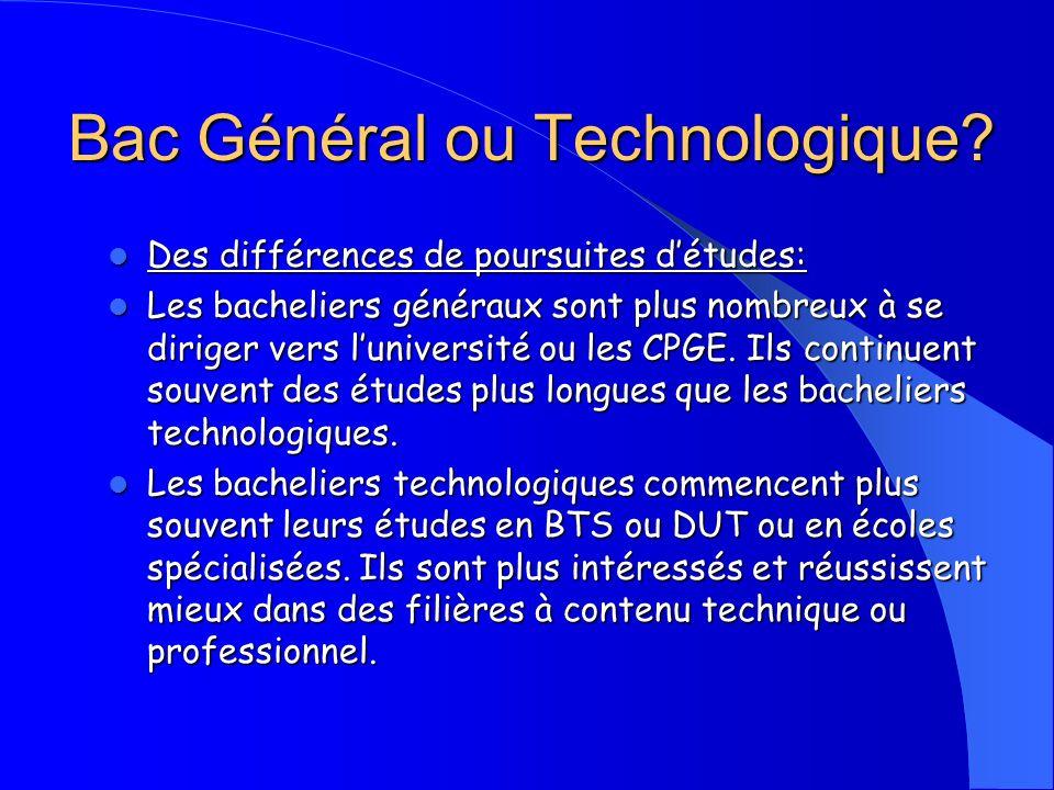 Bac Général ou Technologique.