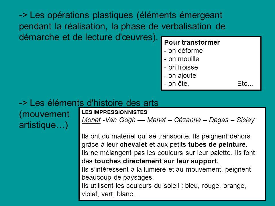 -> Les opérations plastiques (éléments émergeant pendant la réalisation, la phase de verbalisation de démarche et de lecture d'œuvres). -> Les élément