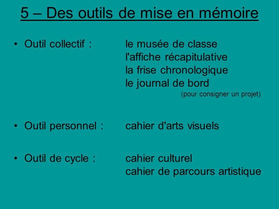 5 – Des outils de mise en mémoire Outil collectif : le musée de classe l'affiche récapitulative la frise chronologique le journal de bord (pour consig