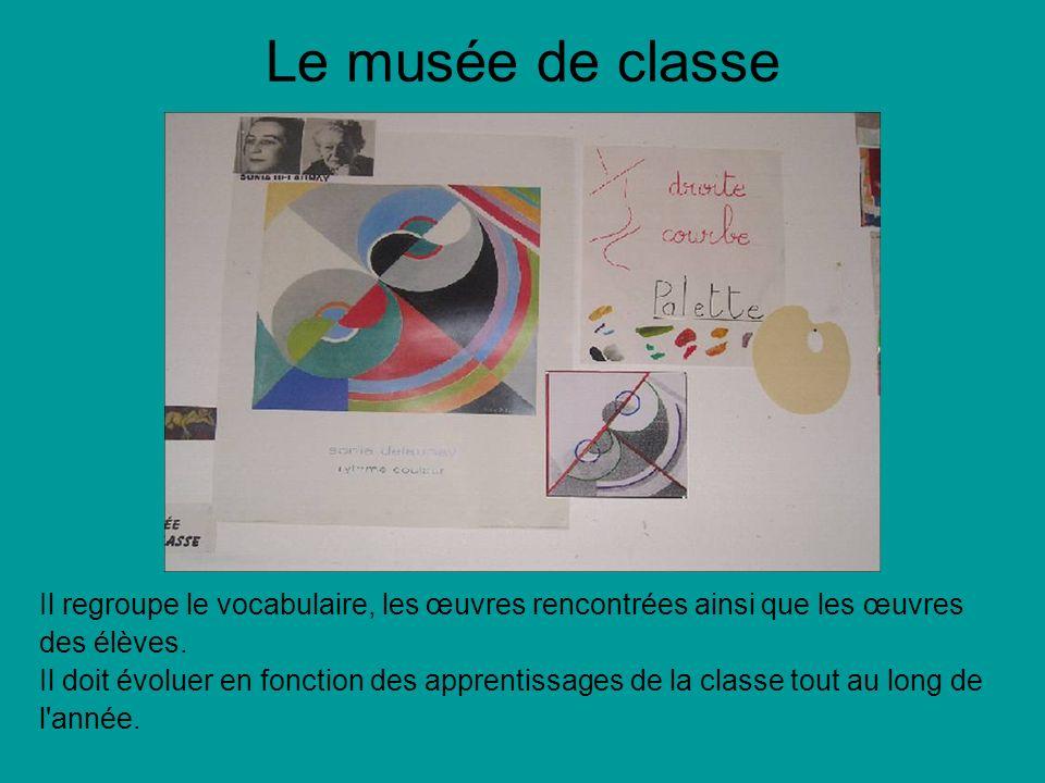 Le musée de classe Il regroupe le vocabulaire, les œuvres rencontrées ainsi que les œuvres des élèves. Il doit évoluer en fonction des apprentissages