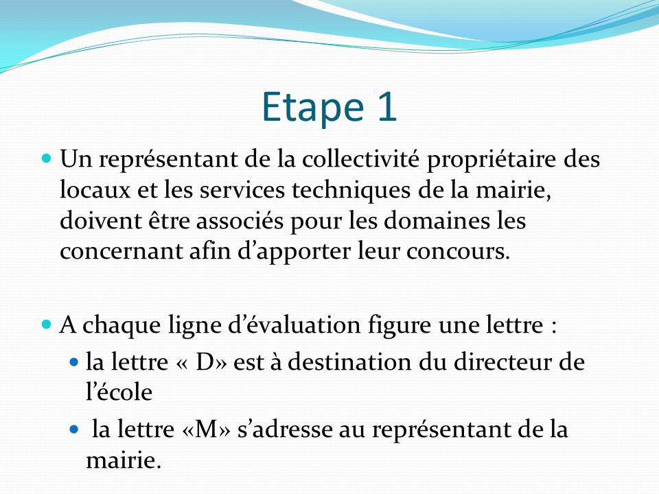 Etape 1 Un représentant de la collectivité propriétaire des locaux et les services techniques de la mairie, doivent être associés pour les domaines le