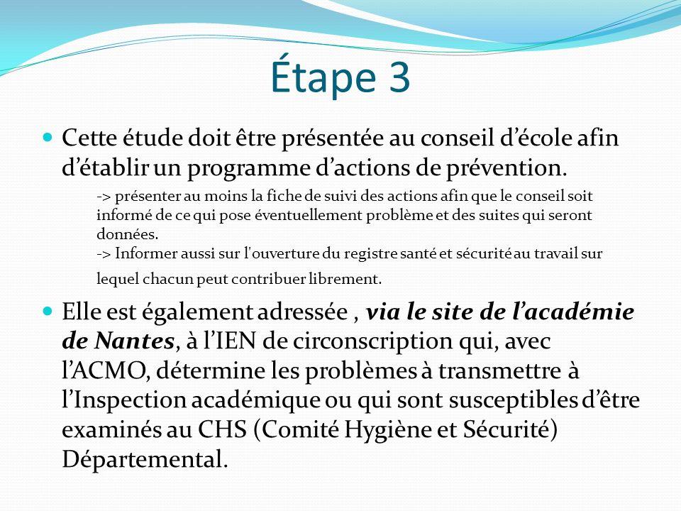 Étape 3 Cette étude doit être présentée au conseil décole afin détablir un programme dactions de prévention. -> présenter au moins la fiche de suivi d