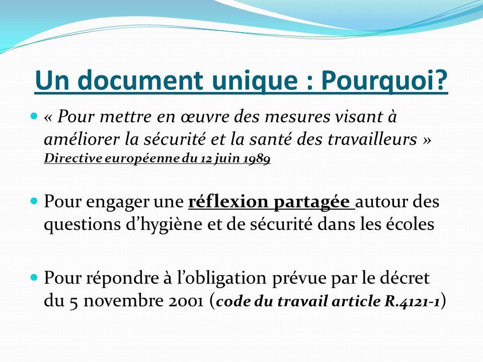 Un document unique : Pourquoi? « Pour mettre en œuvre des mesures visant à améliorer la sécurité et la santé des travailleurs » Directive européenne d