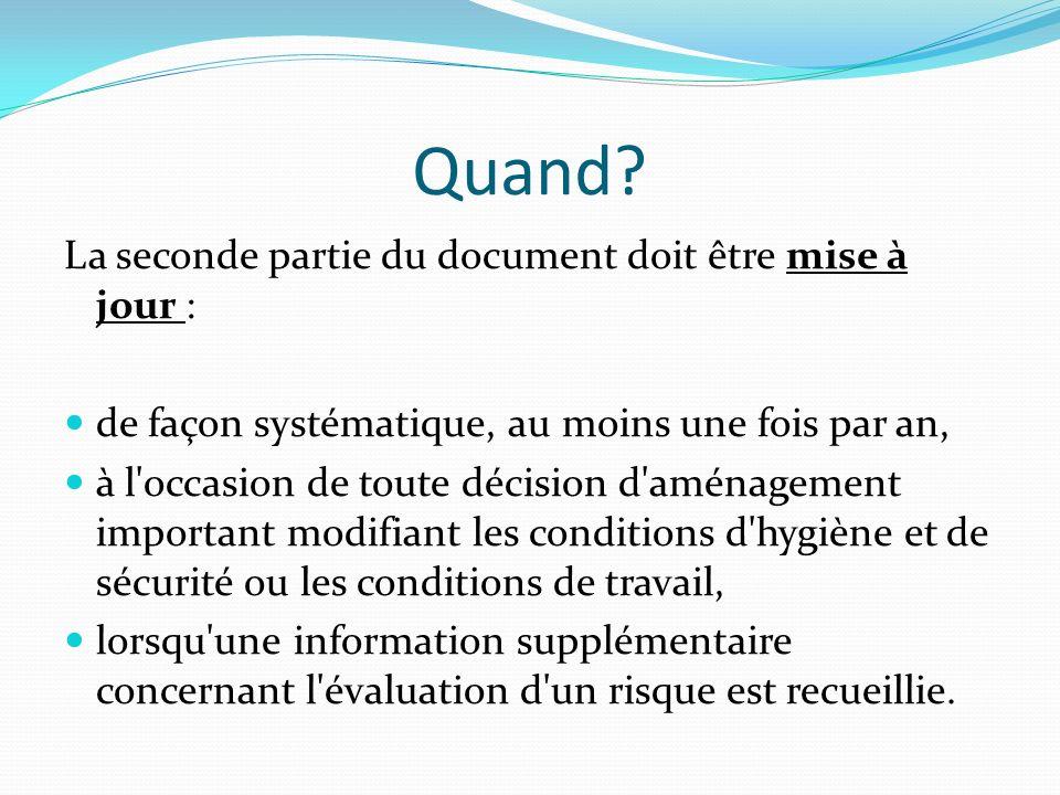 Quand? La seconde partie du document doit être mise à jour : de façon systématique, au moins une fois par an, à l'occasion de toute décision d'aménage