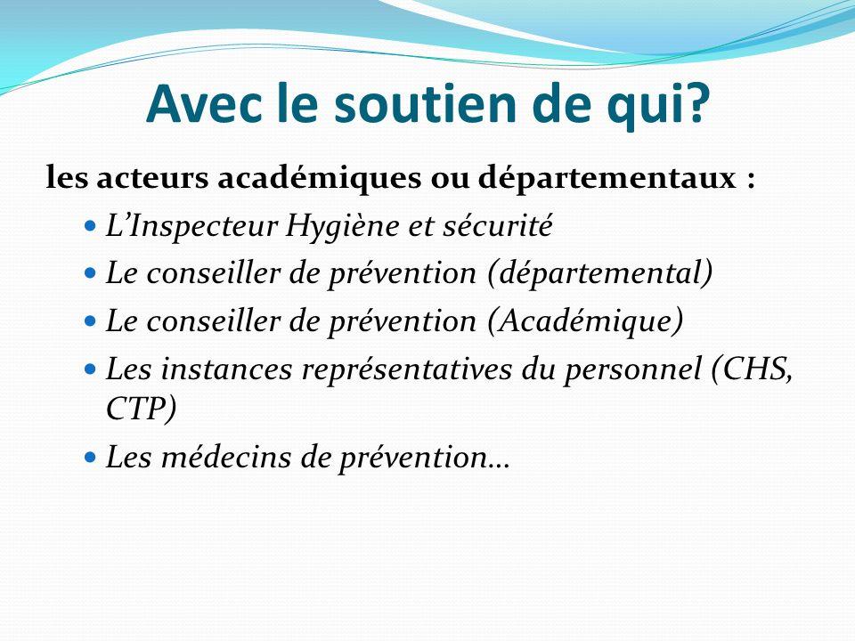 Avec le soutien de qui? les acteurs académiques ou départementaux : LInspecteur Hygiène et sécurité Le conseiller de prévention (départemental) Le con