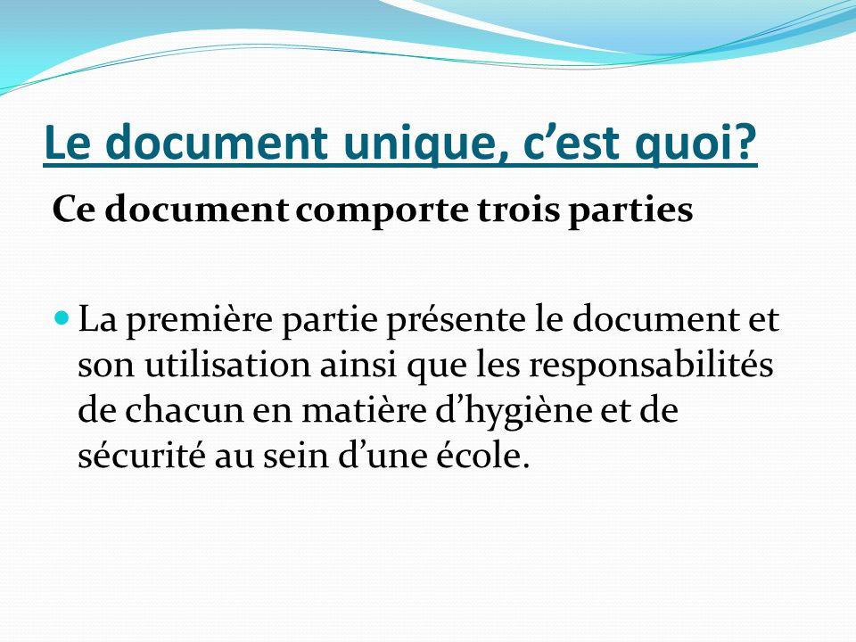 Le document unique, cest quoi? Ce document comporte trois parties La première partie présente le document et son utilisation ainsi que les responsabil