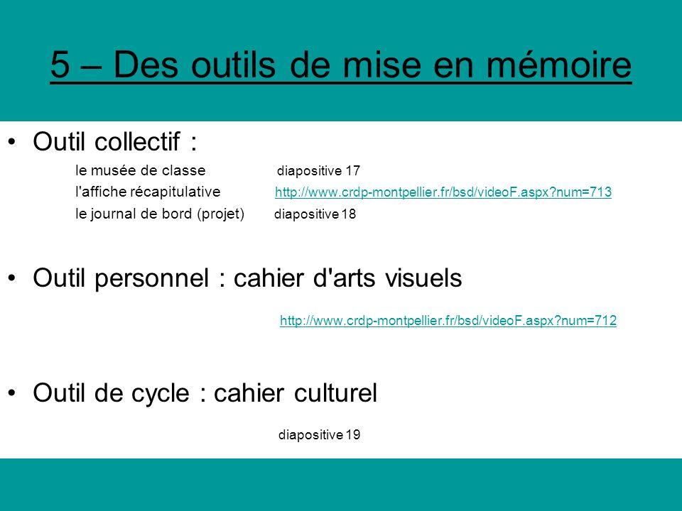 5 – Des outils de mise en mémoire Outil collectif : le musée de classe diapositive 17 l'affiche récapitulative http://www.crdp-montpellier.fr/bsd/vide