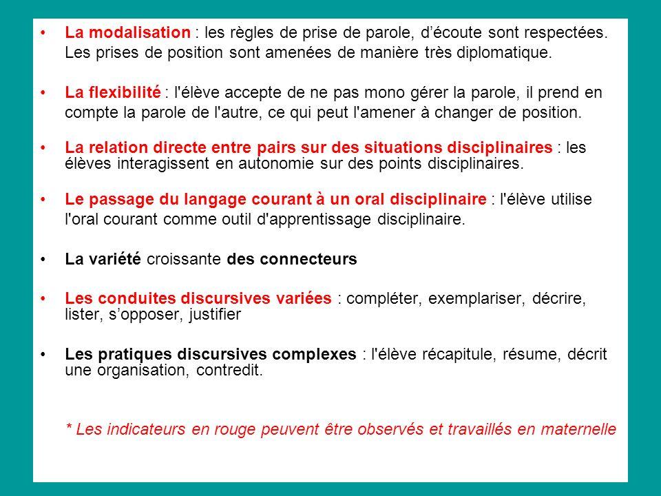 La modalisation : les règles de prise de parole, découte sont respectées. Les prises de position sont amenées de manière très diplomatique. La flexibi