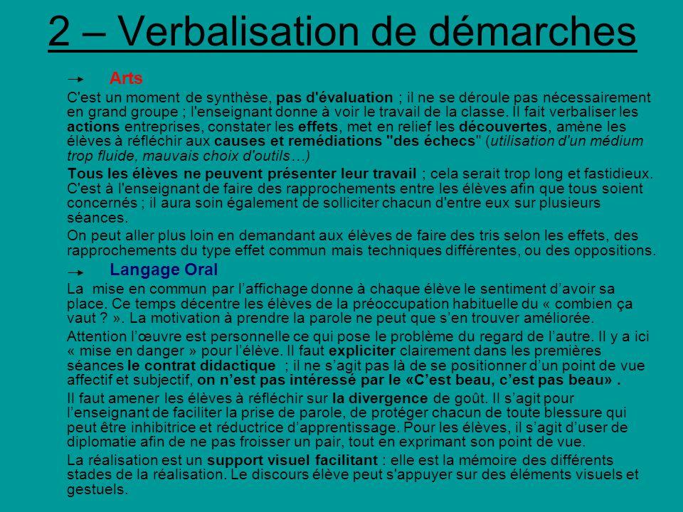 2 – Verbalisation de démarches Arts C'est un moment de synthèse, pas d'évaluation ; il ne se déroule pas nécessairement en grand groupe ; l'enseignant