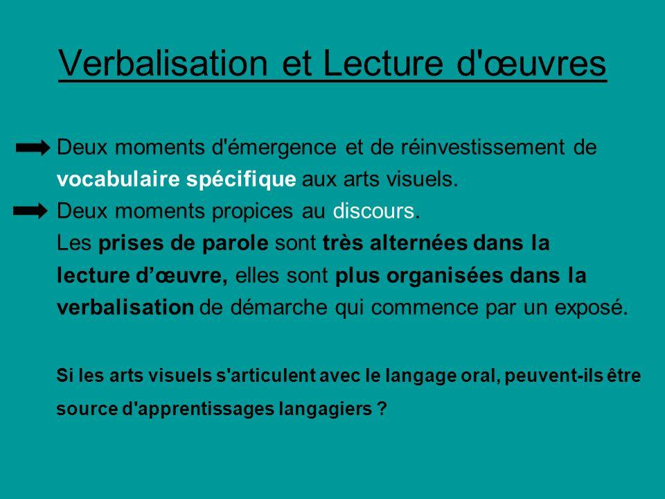 Verbalisation et Lecture d'œuvres Deux moments d'émergence et de réinvestissement de vocabulaire spécifique aux arts visuels. Deux moments propices au