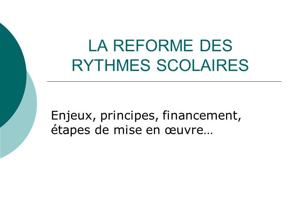 LA REFORME DES RYTHMES SCOLAIRES Enjeux, principes, financement, étapes de mise en œuvre…