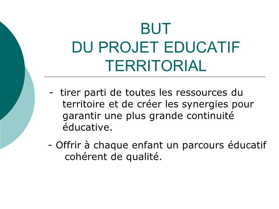 BUT DU PROJET EDUCATIF TERRITORIAL - tirer parti de toutes les ressources du territoire et de créer les synergies pour garantir une plus grande continuité éducative.
