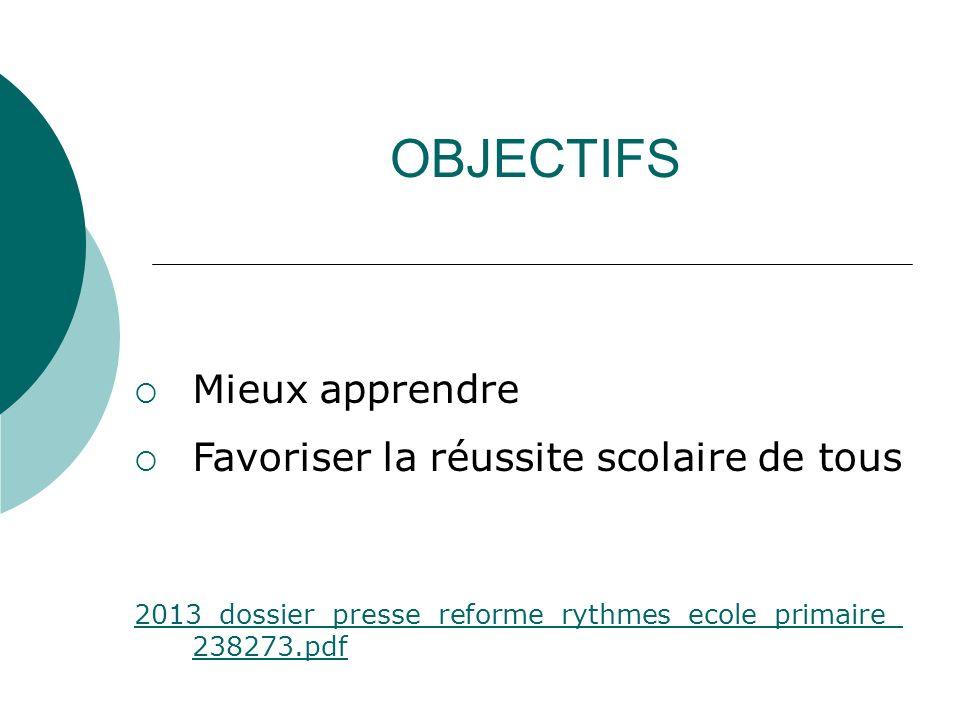 OBJECTIFS Mieux apprendre Favoriser la réussite scolaire de tous 2013_dossier_presse_reforme_rythmes_ecole_primaire_ 238273.pdf