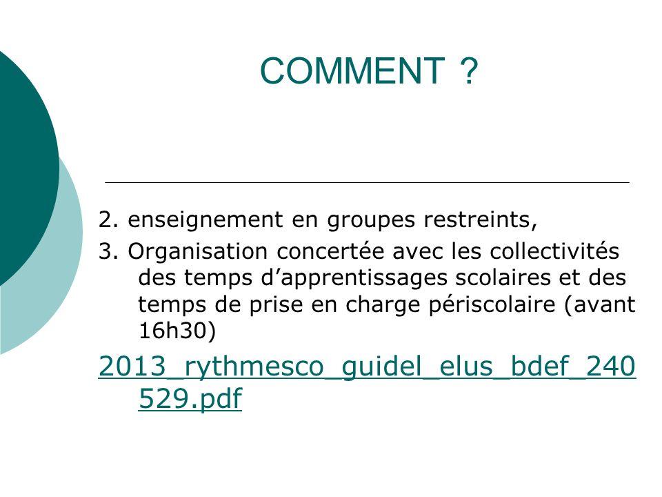 COMMENT . 2. enseignement en groupes restreints, 3.