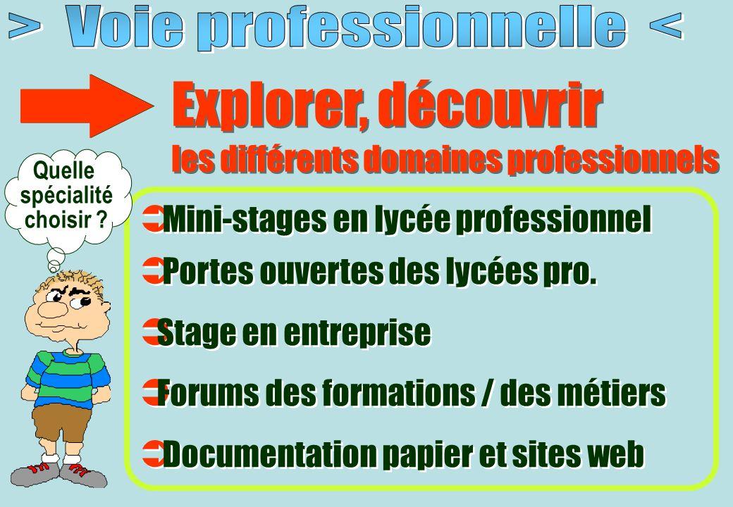 Explorer, découvrir les différents domaines professionnels Explorer, découvrir les différents domaines professionnels Mini-stages en lycée professionnel Portes ouvertes des lycées pro.