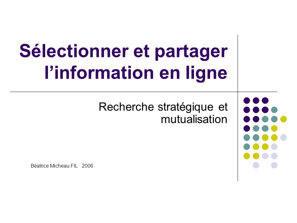 Sélectionner et partager linformation en ligne Recherche stratégique et mutualisation Béatrice Micheau FIL 2006