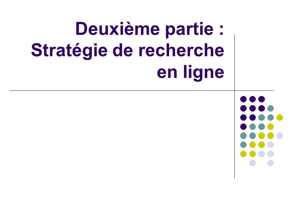 Deuxième partie : Stratégie de recherche en ligne