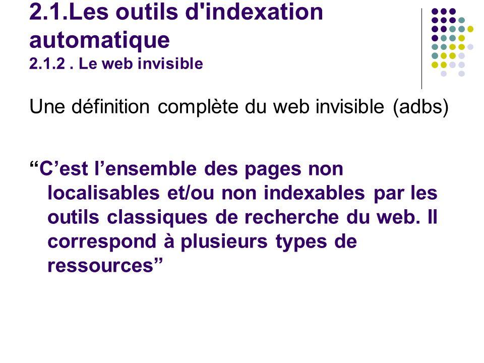 Une définition complète du web invisible (adbs) Cest lensemble des pages non localisables et/ou non indexables par les outils classiques de recherche du web.