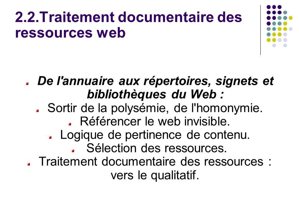 2.2.Traitement documentaire des ressources web De l annuaire aux répertoires, signets et bibliothèques du Web : Sortir de la polysémie, de l homonymie.