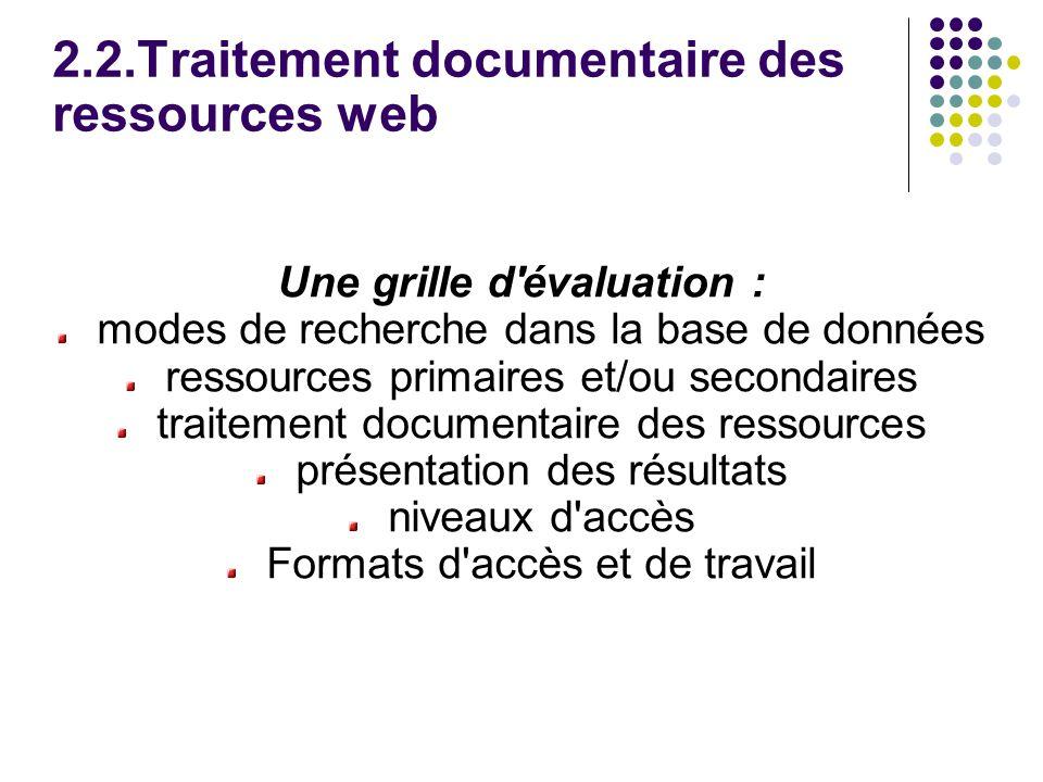 2.2.Traitement documentaire des ressources web Une grille d évaluation : modes de recherche dans la base de données ressources primaires et/ou secondaires traitement documentaire des ressources présentation des résultats niveaux d accès Formats d accès et de travail