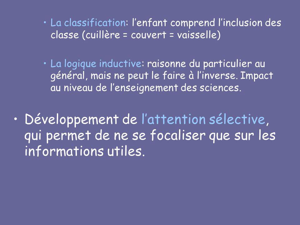 La classification: lenfant comprend linclusion des classe (cuillère = couvert = vaisselle) La logique inductive: raisonne du particulier au général, m