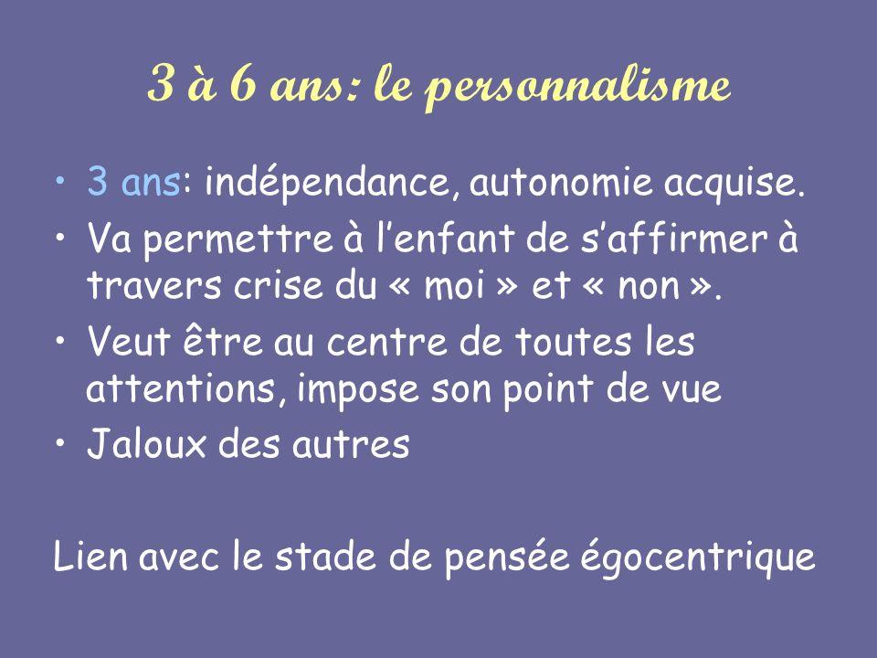 3 à 6 ans: le personnalisme 3 ans: indépendance, autonomie acquise. Va permettre à lenfant de saffirmer à travers crise du « moi » et « non ». Veut êt