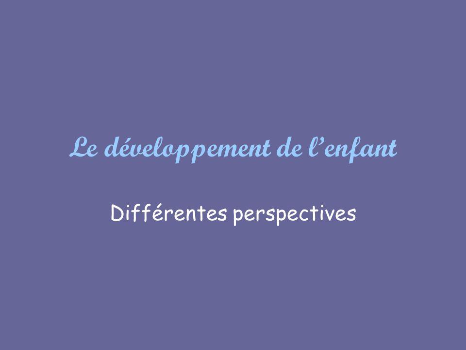 Le développement de lenfant Différentes perspectives