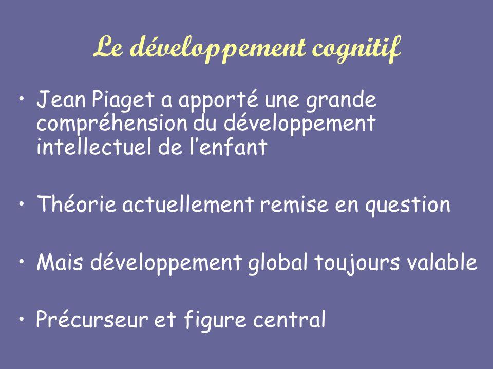 Le développement cognitif Jean Piaget a apporté une grande compréhension du développement intellectuel de lenfant Théorie actuellement remise en quest