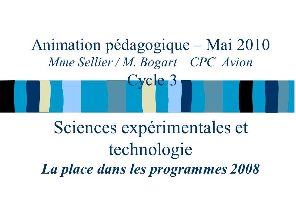 Animation pédagogique – Mai 2010 Mme Sellier / M.