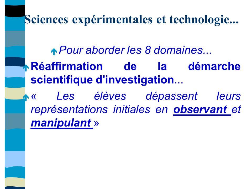 Sciences expérimentales et technologie... Pour aborder les 8 domaines...