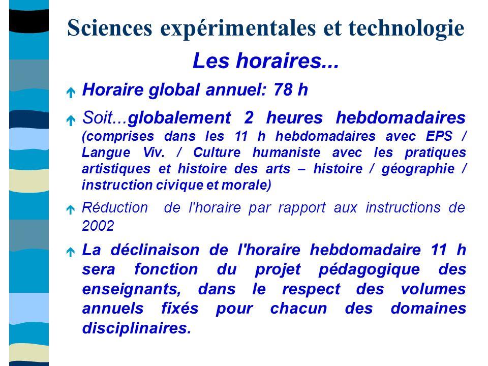 Sciences expérimentales et technologie Les horaires...