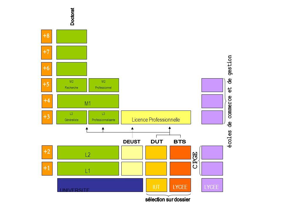 UNIVERSITE L1 IUTLYCEE L3 Professionnalisante L3 Généraliste L2 M1 M2 Professionnel M2 Recherche Licence Professionnelle