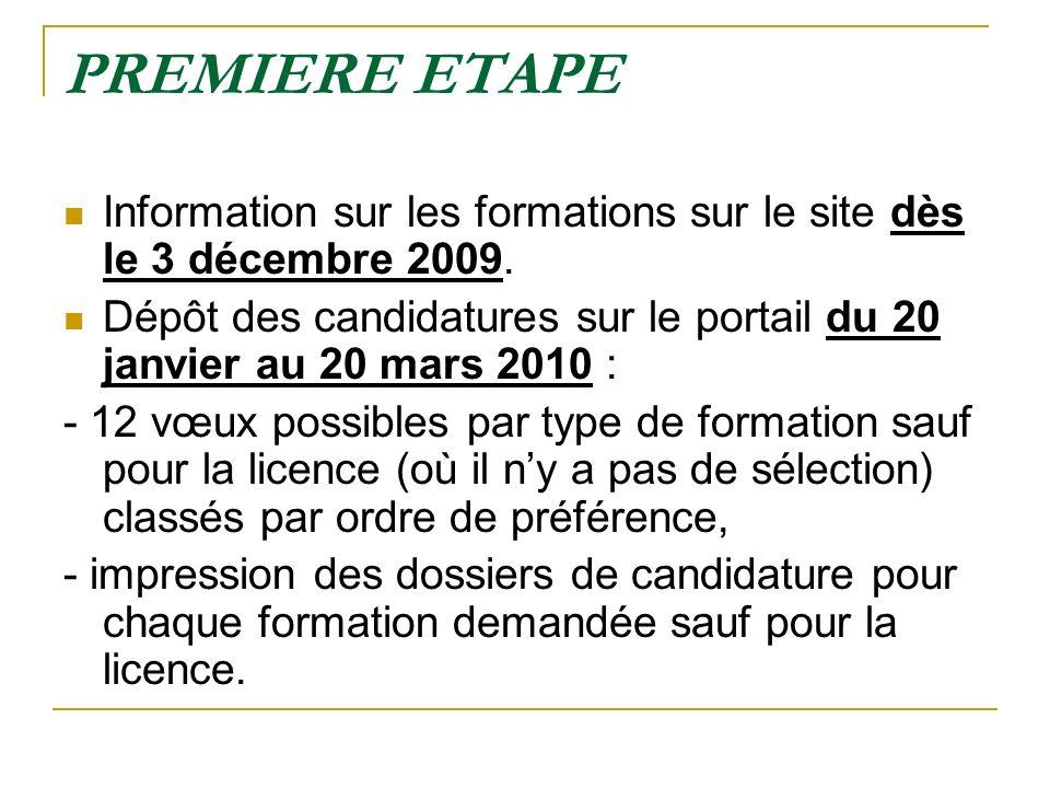 PREMIERE ETAPE Information sur les formations sur le site dès le 3 décembre 2009. Dépôt des candidatures sur le portail du 20 janvier au 20 mars 2010