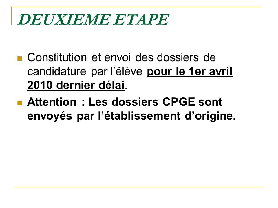 DEUXIEME ETAPE Constitution et envoi des dossiers de candidature par lélève pour le 1er avril 2010 dernier délai. Attention : Les dossiers CPGE sont e