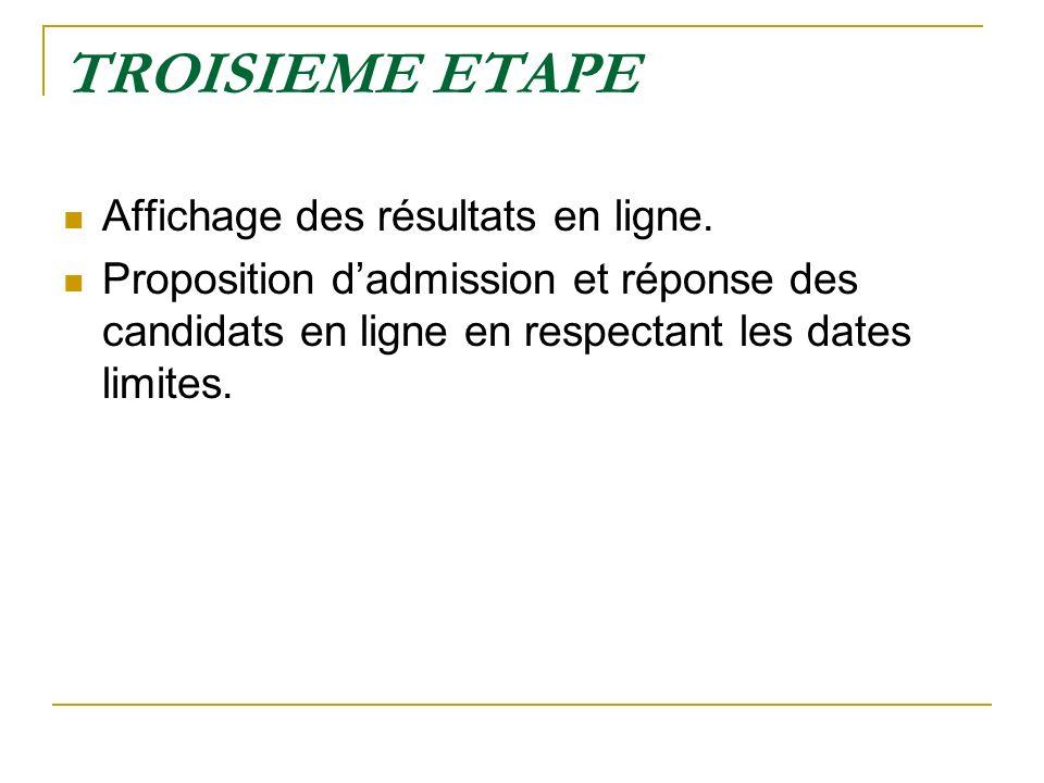 TROISIEME ETAPE Affichage des résultats en ligne. Proposition dadmission et réponse des candidats en ligne en respectant les dates limites.