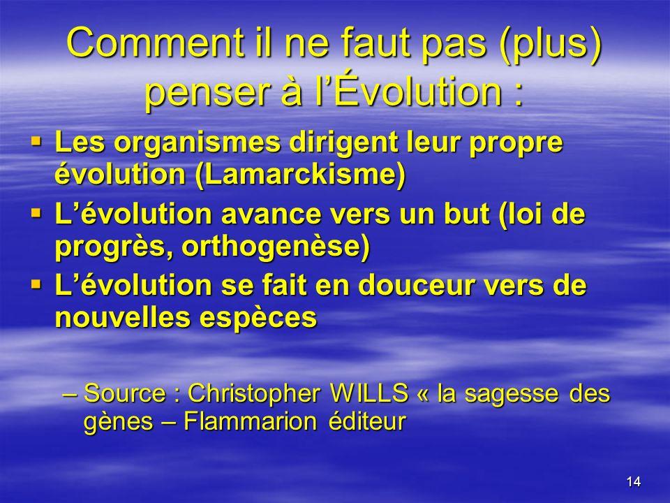 14 Comment il ne faut pas (plus) penser à lÉvolution : Les organismes dirigent leur propre évolution (Lamarckisme) Les organismes dirigent leur propre